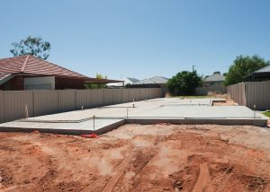 New slab, setting up the home foundations in preparation to build on