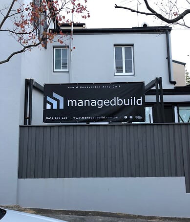 Signage on Building site. Extension Builders Inner West Sydney NSW Australia. Your home property value will continue to increase.