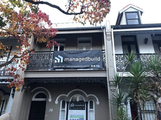 Inner West Builder front facade terrace banner advertising for Managed Build Your Heritage Home Construction Builder